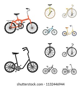Retro, unicycle and other kinds.Different bicycles set collection icons in cartoon,black style vector symbol stock illustration web.