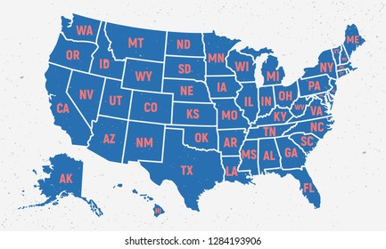 Poster Map United States America State Stockillustration ...