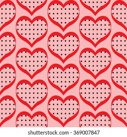 Retro valentine seamless pattern with hearts. seamless pattern of hearts on the pink background