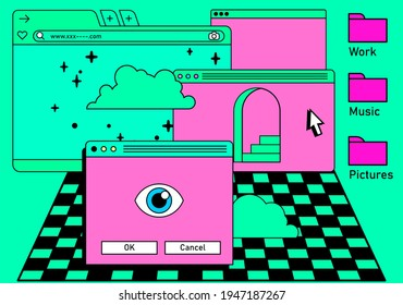 Retro vaporwave desktop with message boxes and user interface elements. Conceptual illustration of computer virus, spyware, ransomware.
