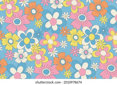 retro vector background with flowers for social media posts, banner, card design, etc.