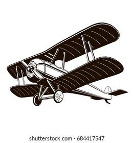 retro vector biplane, vector art, monogram, isolated, black, graphic, hand drawing vector illustration, logo, clip art