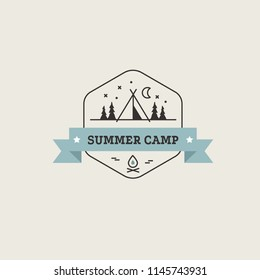 Retro vector camp label and logo. Summer camping outdoor, adventure and explorer. Hipster camping logo element for emblem, outdoor activity vintage symbol.