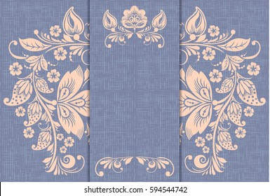 Retro vector card, khokhloma ornament, russian traditional floral style, violet canvas background