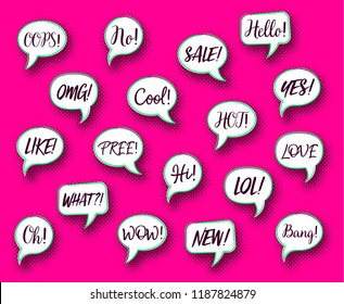 Retro vector comic speech bubbles collection chat expressions