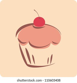 Retro vector cupcake silhouette with red cherry on background. I love sweets! Bakery sign, logo, button, symbol or other design elements.