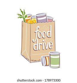 Retro Vector Grocery Bag Charity Food Drive Fruit and Vegetable Food  Illustration
