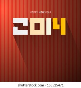 Retro Vector Happy New Year 2014 Tile on Dark Red Background