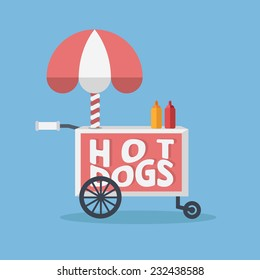 Retro vector hot dog cart on blue background.