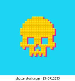 Retro vector human pixel skull. 8 bit, pop art style cranium on blue background