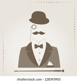 Retro vector illustration of bowler, mustaches,  stick , monocle and elegant suit