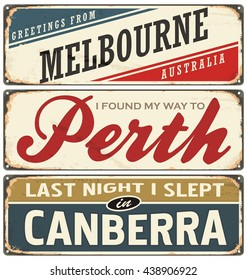 Retro vector illustration with cities of the world. Australia. Travel souvenirs on old grunge damaged background. Melbourne, Perth, Canberra.