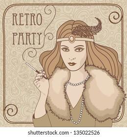 retro vector illustration of smoking  lady