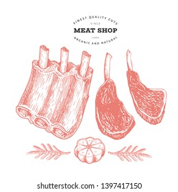 Retro vector meat illustration. Hand drawn ribs, spices and herbs. Raw food ingredients. Vintage sketch. Can be use for label, restaurant menu.