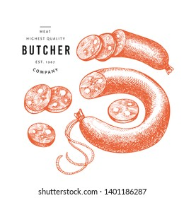 Retro vector meat illustration. Hand drawn sausages, sausages slices, spices and herbs. Raw food ingredients. Vintage sketch. Can be use for label, restaurant menu.
