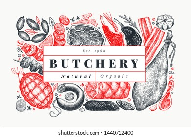 Retro vector meat products design template. Hand drawn ham, sausages, jamon, spices and herbs. Raw food ingredients. Vintage illustration. Can be use for label, restaurant menu.