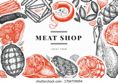 Retro vector meat products design template. Hand drawn ham, sausages, jamon, spices and herbs. Retro illustration. Can be use for restaurant menu.