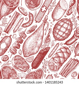 Retro vector meat products seamless pattern. Hand drawn ham, sausages, jamon, spices and herbs. Raw food ingredients. Vintage illustration. Can be use for label, restaurant menu.
