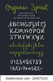 Retro vector 'Organic Spirit' brush script lettering font, handwritten calligraphic alphabet