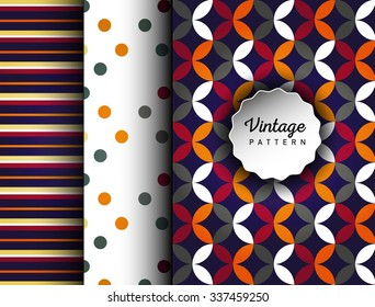 Retro vector ornament patterns. Can be used for wallpaper, pattern fills, web page background, surface textures. Pattern for cafe, sweet-shop, pastry shop