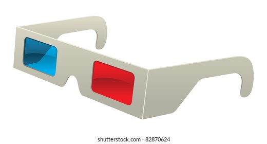 Retro Vector Paper 3D Glasses Old Red and Blue Stereoscopic Graphic Vector Illustration Cartoon