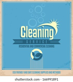 Retro vector poster template for professional residential and commercial cleaning service company.