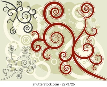 Retro vector rings & floral motif with various color combo. JPG version, look for image 2356760.