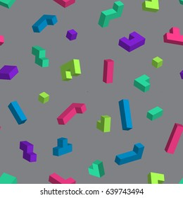 Retro vector seamless pattern in 90's style. Pixelated game tetris - vector colorful pattern with 3D bricks. Acid colors.