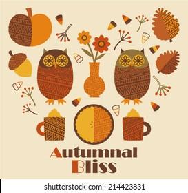 Retro Vector Set of Autumn Decorative Elements