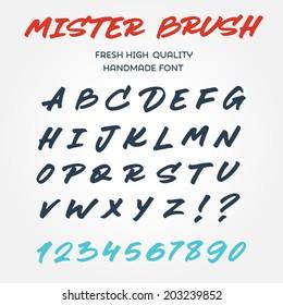 Retro vector type font alphabet handwritten with brush marker pen lettering, set of original letters, custom typography