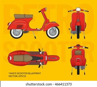 Retro vector vestpa scooter blueprint