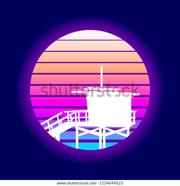 Retro Venice Beach Sunset Design. EPS10 Vector With Transparency