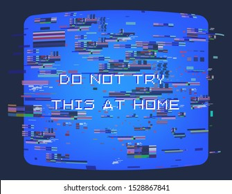 Retro VHS background like in old video tape rewind or no signal TV screen, Glitch camera effect. Vaporwave/ retrowave style vector illustration.