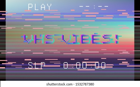 Retro VHS background like in old video tape rewind or no signal TV screen and holographic neon stains. Retrowave / synthwave / vaporwave illustration.