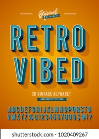 'Retro Vibed' Vintage 3D Sans Serif Condensed Alphabet with Rich Colors. Retro Typography. Vector Illustration.