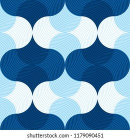Retro vibes blue sea water abstract geometry seemless pattern. water wave background. vector illustration. element for design.