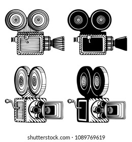 Retro video cameras hand drawn illustrations set. Vintage movie cameras drawings in different views. Old cameras sketch style icons isolated on white background.