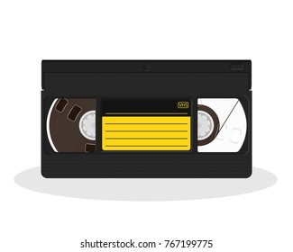 Retro video cassette with black and yellow sticker isolated on a white background. Vintage style movie storage icon. Old record video recorder tape. Vector illustration.