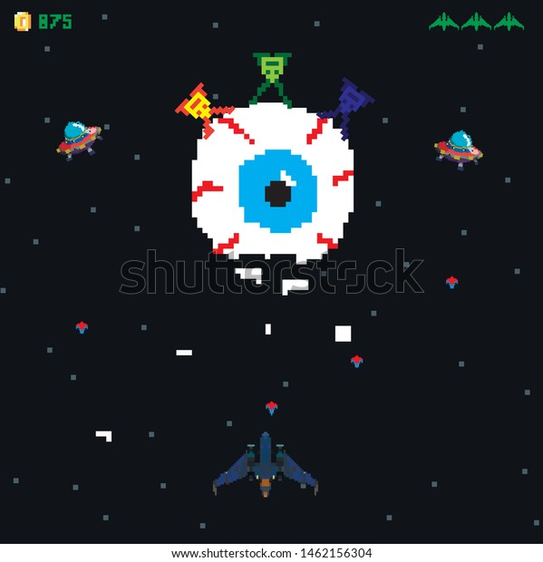 Retro Video Game Screen Arcade Space Stock Vector (Royalty