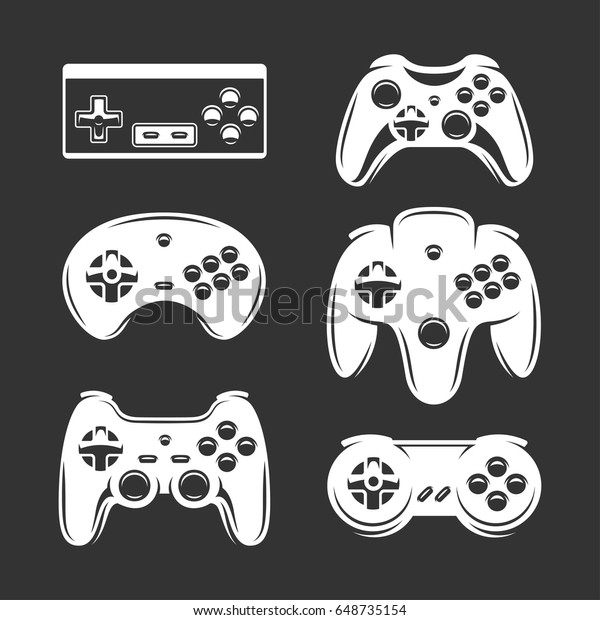 Retro Video Games Joystick Set Gamepad Stock Vector (Royalty Free