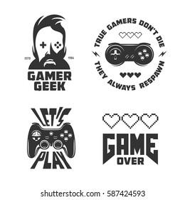 Retro video games related t-shirt design set. Monochrome joystick set. Quotes about gaming. Gamer geek glasses. Vector vintage illustration.