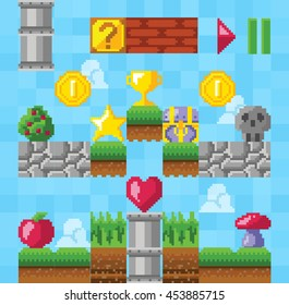 Retro video platform game elements. Pixel game design. Vector illustration. Vintage style.
