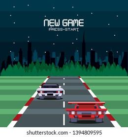 Retro videogame  screen arcade background card