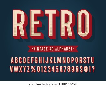 'Retro' Vintage 3D Sans Serif Condensed Alphabet with Halftone Texture. Retro Typography. Vector Illustration.