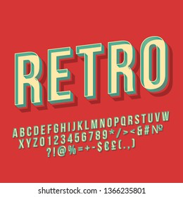 Retro vintage 3d vector lettering. 80s bold font, typeface. Pop art stylized text. Old school style letters, numbers, symbols pack. 90s poster, banner, t shirt typography design. Red color background