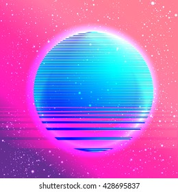 Retro vintage 80s or 90s geometric style abstract background. Good design for textile t-shirt print design, flyer and poster background. Futuristic vector illustration in bright neon colors.