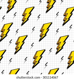 Retro vintage 80s lightning bolts fashion style seamless pattern illustration background. Ideal for fabric design, paper print and website backdrop. EPS10 vector file.