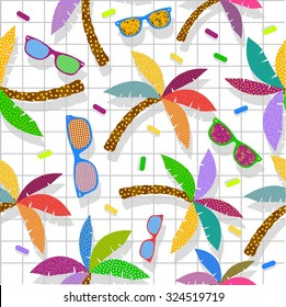 Retro vintage 80s memphis hipster beach seamless pattern with sunglasses and palmtrees. Ideal for fabric design, paper print and web background. EPS10 vector file.
