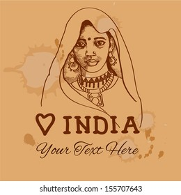 Retro vintage backgound with indian girl for your design