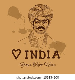 Retro vintage background with indian man for your design